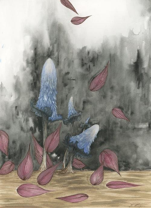 mushroom art, mushroom painting, nature art