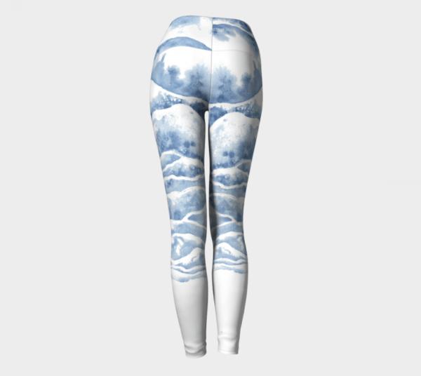 Watercolor Leggings, Blue Leggings, Yoga Leggings