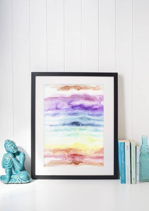 watercolor rainbow, rainbow art, chakra art