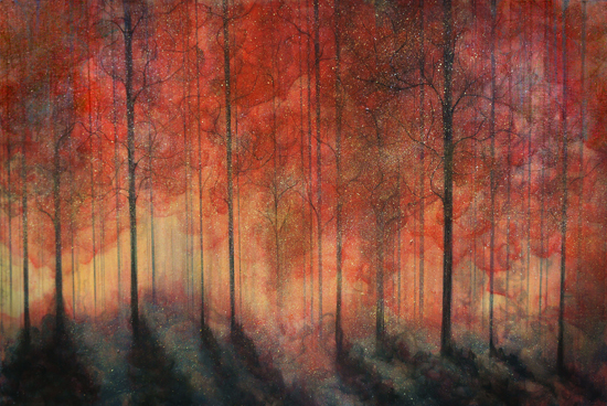 nature art print, forest art print, red leaves