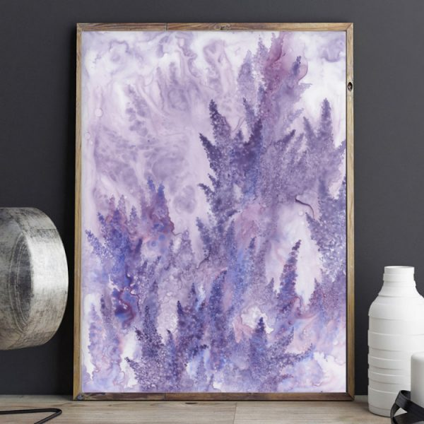 lavender art, lilac art, watercolor flower art
