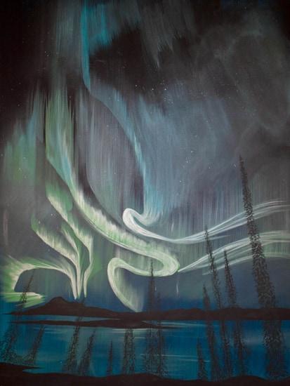 northern lights painting, northern lights art, northern lights