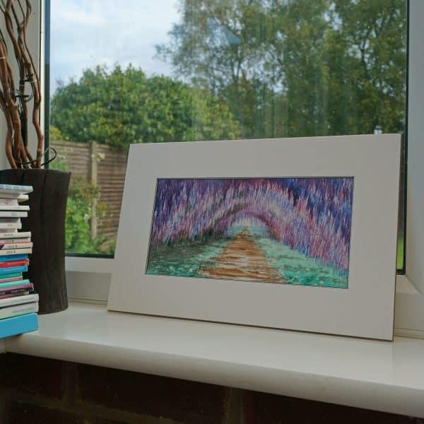 wisteria art, watercolor art, flower tunnel art