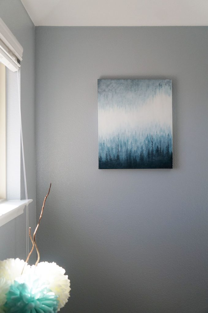 nature art, forest art, blue forest painting