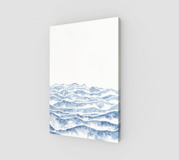 watercolor art print, watercolor waves, blue watercolor art