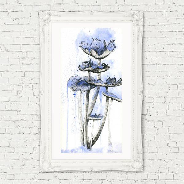 mushroom art, mushroom drawing, mushroom painting