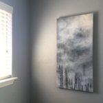 foggy forest, tree art, nature art, black and white art