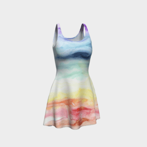 Dress Watercolor Rainbow Flare Dress 1 1