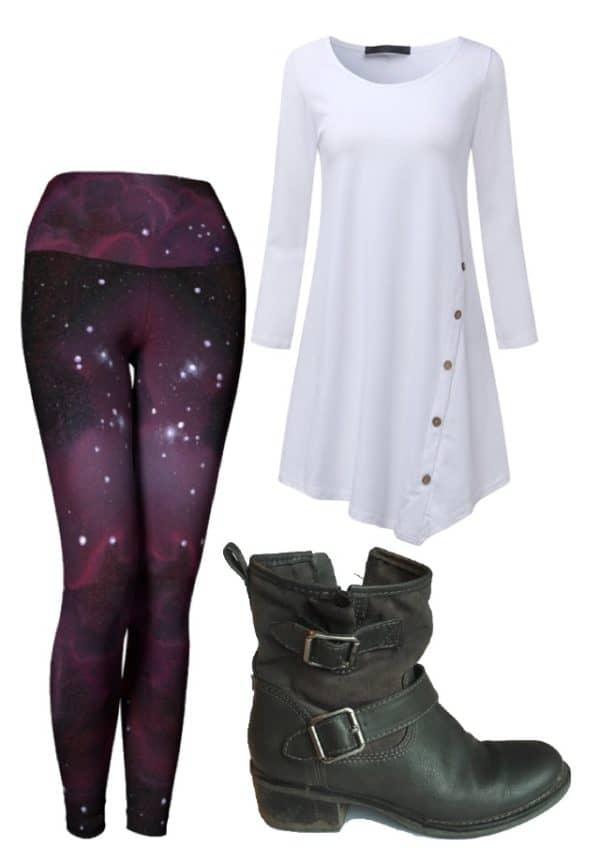 Leggings Purple Galaxy Leggings Outfit Ideas 2