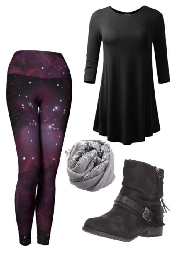 Leggings Purple Galaxy Leggings Outfit Ideas 3