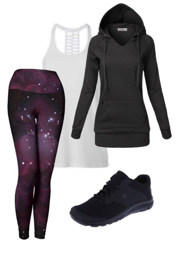 Leggings Purple Galaxy Leggings Outfit Ideas 4