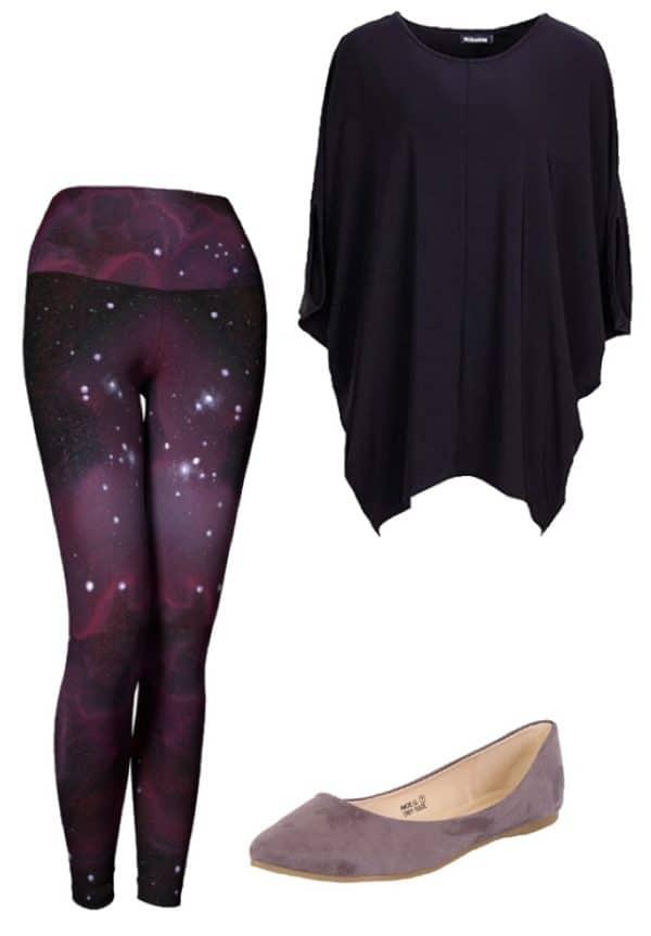 Leggings Purple Galaxy Leggings Outfit Ideas 5