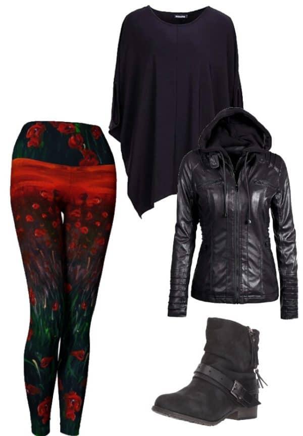 Leggings Red Poppy Leggings Outfit Ideas 1