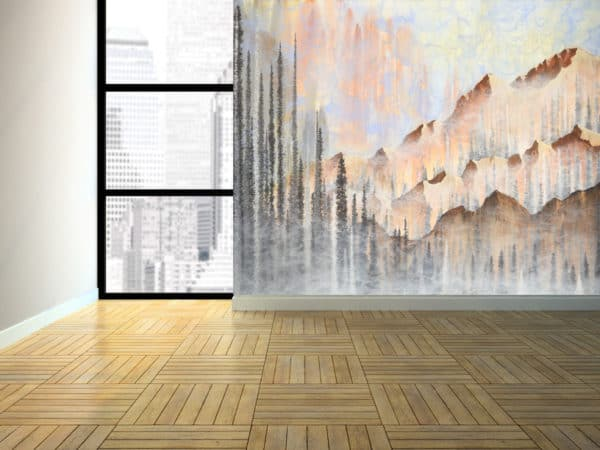 Murals Afterburn Mountain Landscape Wall Mural 2 1