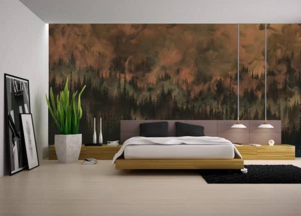 Murals Dark Copper Forest Landscape Wall Mural 1