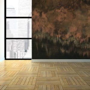 Murals Dark Copper Forest Landscape Wall Mural 2 1