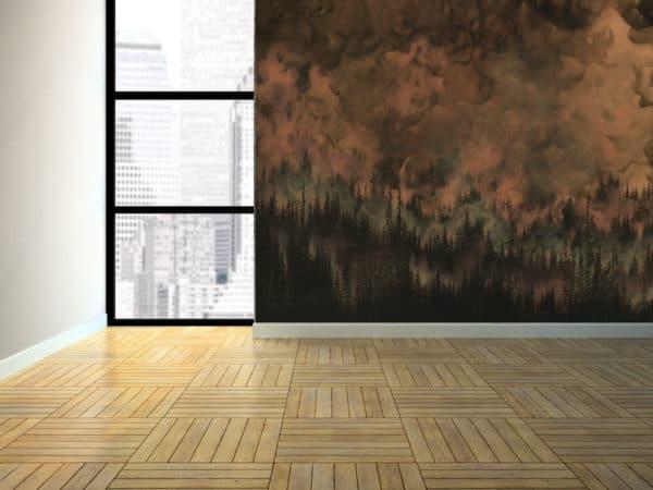 Murals Dark Copper Forest Landscape Wall Mural 2 1