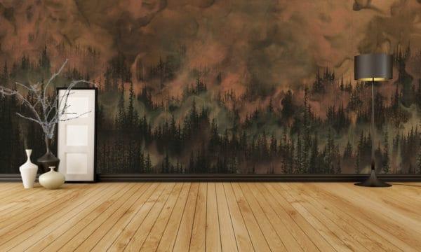 Murals Dark Copper Forest Landscape Wall Mural 4 1
