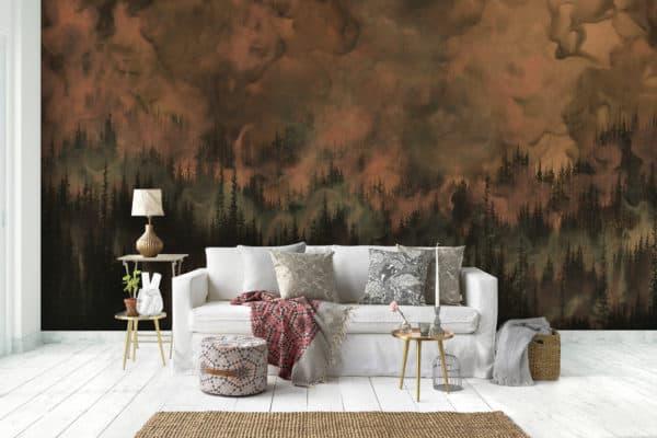 Murals Dark Copper Forest Landscape Wall Mural 5 1