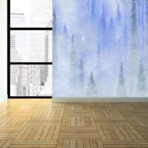 Murals Foggy Blue Forest Landscape Wall Mural 2 1