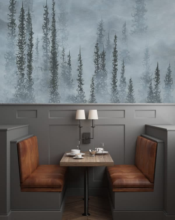 Murals Foggy Grey Forest Landscape Wall Mural 1