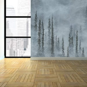Murals Foggy Grey Forest Landscape Wall Mural 3