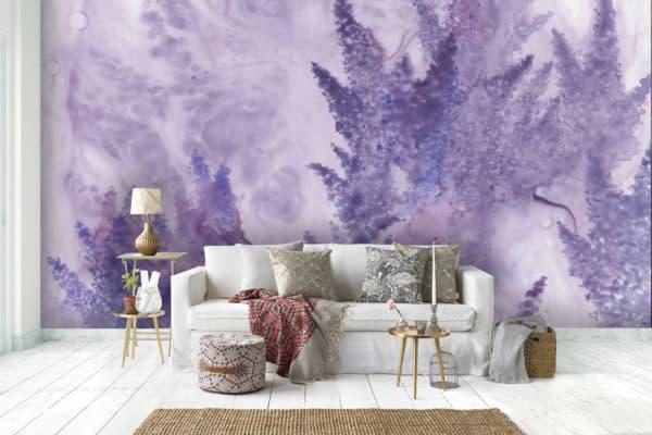 Murals Watercolor Lavender Floral Wall Mural 1 1