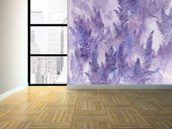 Murals Watercolor Lavender Floral Wall Mural 3 1