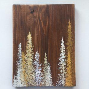 Original Painting Trees on Wood 1 2