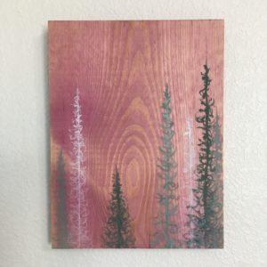 Original Painting Trees on Wood 10 2