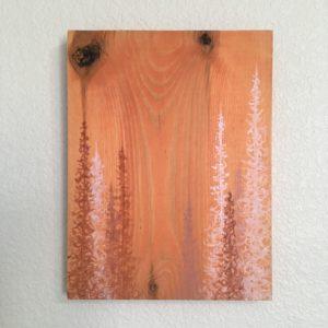 Original Painting Trees on Wood 14 3