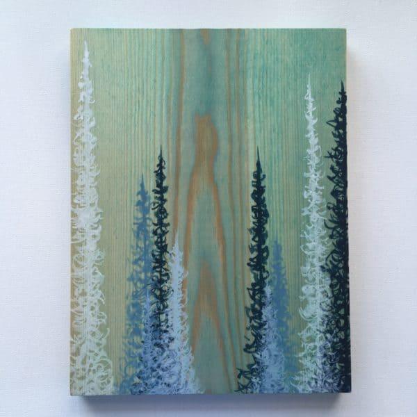 Original Painting Trees on Wood 15 3