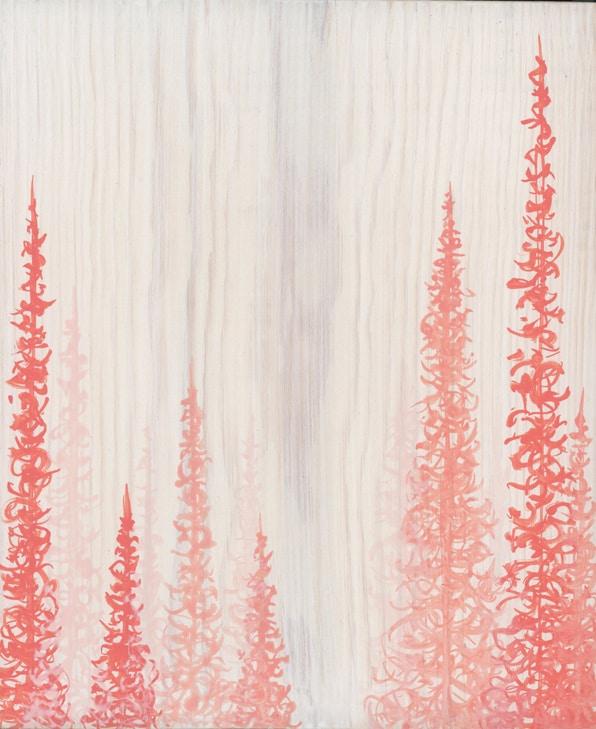 Original Painting Trees on Wood 16 6 1