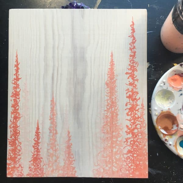 Original Painting Trees on Wood 16 7