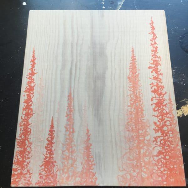 Original Painting Trees on Wood 16 8