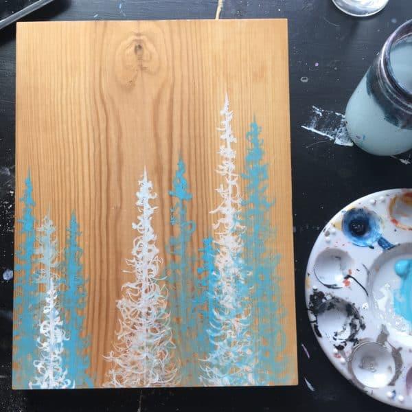Original Painting Trees on Wood 2 3 1