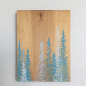 Original Painting Trees on Wood 2 5 1