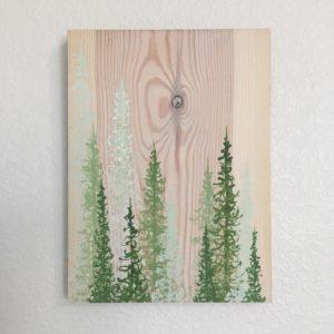 Original Painting Trees on Wood 3 4 1