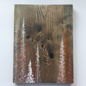 Original Painting Trees on Wood 4 7