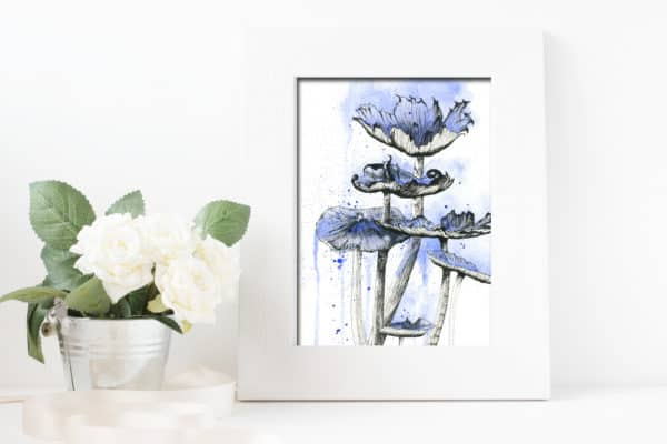 Prints Blue Mushrooms Print 6