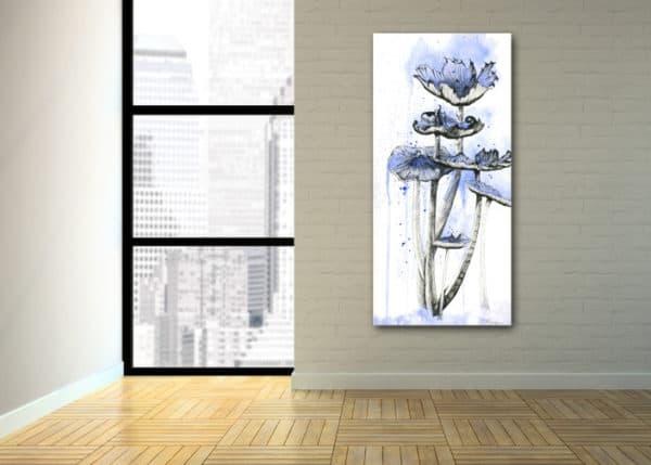 Prints Blue Mushrooms Print 8