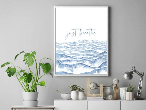Prints Just Breathe Watercolor Printable Word Art 11 1