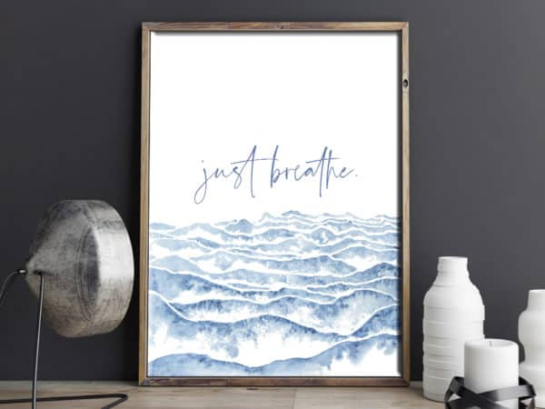 Prints Just Breathe Watercolor Printable Word Art 12