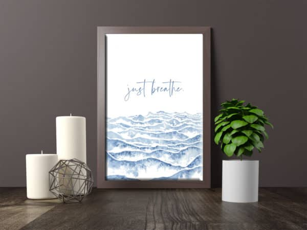 Prints Just Breathe Watercolor Printable Word Art 7 1