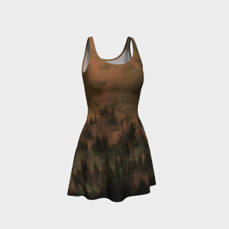 copper dress, black dress, tree dress, flare dress