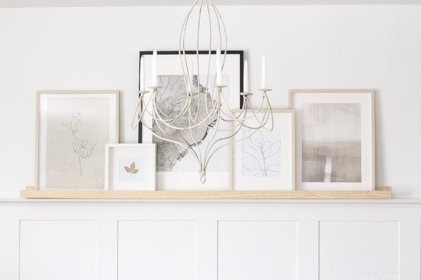 The Easiest Way to Display Art DIY Art Shelf