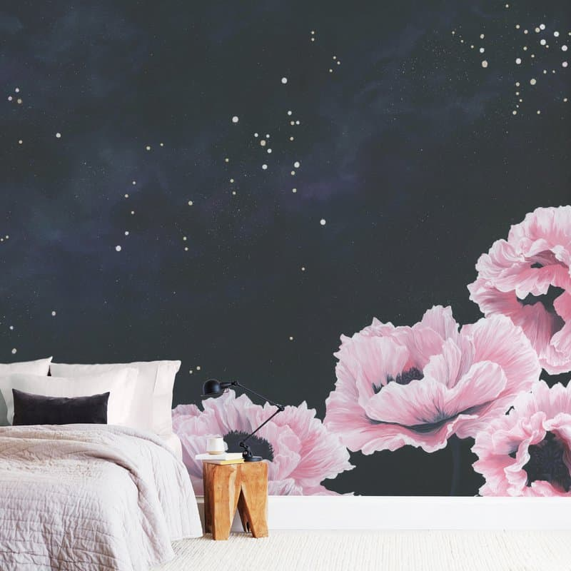 """Awakening"" Pink Poppies in Space Wall Mural by Emily Magone"
